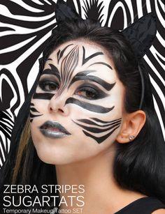 Zebra Stripes SugartTats Temporary Makeup Tattoos by SugarT .- ZebraStreifen SugartTats Temporary Makeup Tattoos von SugarTats … Zebra Stripes SugartTats Temporary Makeup Tattoos by SugarTats More - Zebra Makeup, Animal Makeup, Makeup Tattoos, Body Art Tattoos, Zebra Face Paint, Zebras, Lion King Costume, Lion King Jr, Fantasy Make Up