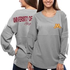 Minnesota Golden Gophers Women's Pom Pom Jersey Oversized Long Sleeve T-Shirt - Gray
