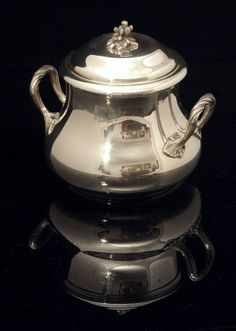 Puiforcat Sterling Silver Tea Set - The gorgeous sugar bowl, vermeil wash interior, measures roughly 12 cm. high covered, 13 cm. across to the handle tips, and weights 416 grams.