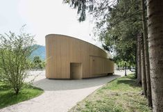 Image 1 of 9 from gallery of Music Pavilion Bad Ischl / Two in a Box Architekten. Photograph by Simon Bauer Timber Architecture, Library Architecture, Timber Buildings, Pavilion Architecture, Architecture Details, Public Architecture, Pavillion Design, Wooden Pavilion, Wooden Facade