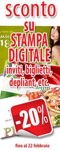 Sconto del 20% su tutti i prodotti di Stampa Digitale (ad es. inviti, biglietti, depliant etc.) ordinati entro il 22 febbraio 2013 - solo su http://www.miofotolibro.it/