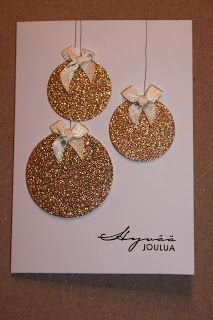 Piitun puuhanurkka: joulukuuta 2012 - My site Christmas Card Crafts, Homemade Christmas Cards, Christmas Cards To Make, Handmade Christmas, Homemade Cards, Holiday Crafts, Christmas Decorations, Xmas Cards Handmade, Christmas Glitter