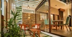 6-cent-house-courtyard Small Courtyard Gardens, Courtyard Design, Small Courtyards, Kerala House Design, Small House Design, Beautiful Space, Beautiful Homes, Natural Stone Cladding, Indian Home Interior