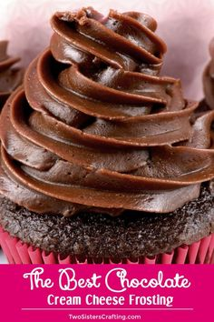 The Best Chocolate Cream Cheese Frosting is creamy, tangy, chocolate-y and super duper yummy. Homemade Frosting never tasted so good or was easier to make. Cake Frosting Recipe, Homemade Frosting, Cake Icing, Frost Cupcakes, Chocolate Cream Cheese Frosting, Chocolate Frosting Recipes, Cream Cheese Buttercream, Cupcake Recipes, Cupcake Cakes