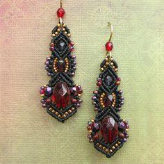 Macrame and Glass bead earringsMinerva styleBlack by glassdancer, $52.00