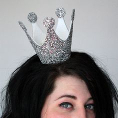 Silver sparkle crown Burlesque glitter costume by JanineBasil, £29.00