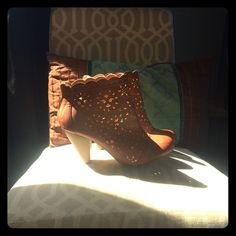 Xo Xo Retro Esq  Camel Colored Detailed Booties  Super Cute, Unique, Zipper Detail in back, Open Detailing in pleather/ leather shoe, wooden heel, so comfy!!!! XOXO Shoes Ankle Boots & Booties
