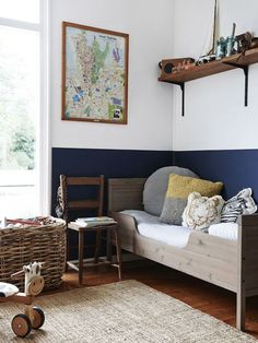 If you really want to try a dark colour but aren't too sure, go half! Painting the bottom half of the wall in a deep navy brings so much depth, interest and coolness to this room while also satisfying the requirement to remain a light room.
