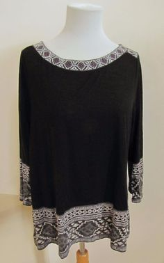 Lucky Brand Black Tunic Top Large L Embroidered Print 3/4 Sleeve Knit Tie Back  #LuckyBrand #Tunic #Casual