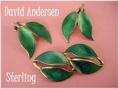 David Andersen ~ Norway Sterling Silver ~ Double Leaf Green Guilloche Enamel  Brooch & Earrings Set  @@ FREE SHIPPING @@