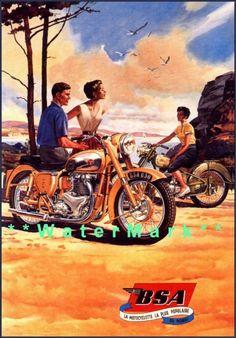 Art Poster: Bsa Motorcycles Advertisement Vintage Poster Art Print Retro Style Beach Sport