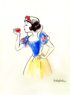 Dessin peinture Blanche neige Disney, aquarelle effet croquis : Peintures par figurinesheros