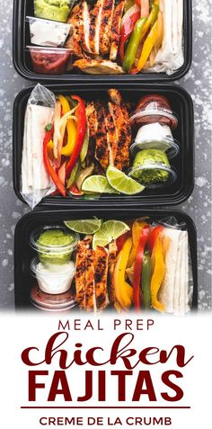 Meal Prep Chicken Fajitas are the perfect solution for busy cooks who love big flavors! These skillet, oven baked, or grill chicken fajitas are easy to make in about 30 minutes and are a great make ahead option for meals throughout the week. Lunch Snacks, Lunch Recipes, Mexican Food Recipes, Cooking Recipes, Healthy Recipes, Lunch Box, Meal Prep Bowls, Easy Meal Prep, Chicken Meal Prep