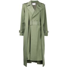 Toga Pulla Boxy Trench Coat ($1,417) ❤ liked on Polyvore featuring outerwear, coats, trench coats, green trench coats, green coat and boxy coat