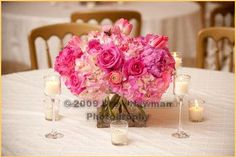 Centerpiece of Pink Hydrangeas and Pink Roses