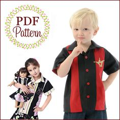 Scientific Seamstress - Bowling Shirts - E-PATTERN-Sewing pattern, sewing,boys shirt pattern, bowling shirt