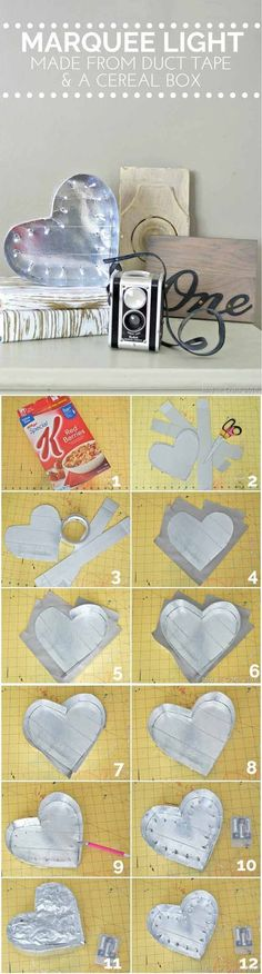 DIY Cereal Box Decorations | Marquee Light by DIY Ready at http://diyready.com/28-things-you-can-make-from-cereal-boxes/