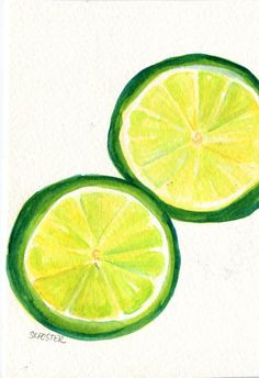 Limes Watercolor Painting  Original painting  by SharonFosterArt, $15.00