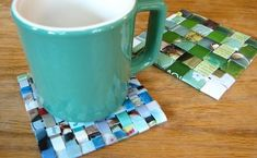 DIY woven paper coasters from magazine pages.