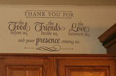 Thank You for Food, Friends, Love Wall Decal Quote - Wall Decor Plus More