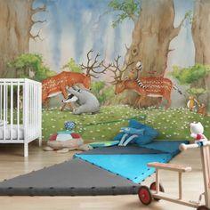 Kinderzimmer Tapeten - Vliestapeten Premium - Wassili hilft den Hirschen - Fototapete Breit