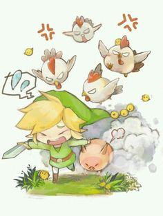 Link attaquait par des poules