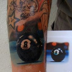 Realistic billiard ball 8 color tattoo