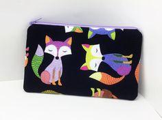 Purple Fox Zipper Pouch Cell Phone Pouch Accessory by ZestyNotion