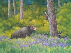 """This watercolor painting was sent to us by Sharon Krohn. She used our Kilimanjaro Watercolor paper with a combination of Winsor & Newton and American Journey watercolors along with Caran d'Ache watercolor Crayons. The title, obviously, is """"Three Bears"""". Sharon, thank you for sharing your work. #watercolorpainting #artwork"""