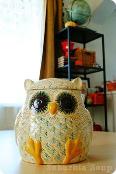 Suburbia Soup: My Anthropologie Owl Jar Owl Cookies, Cookies Et Biscuits, Owl Kitchen, Kitchen Decor, Owl Home Decor, Wise Owl, Vintage Cookies, Cookie Jars, Cookie Cutters