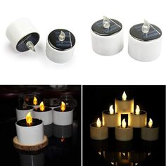Solar Candles Light Flameless Rechargeable LED Candles Lights Tea Lamps Led Candle Lights, Candle Lamp, Tea Light Candles, Led Lamp, Lamps, Wall Lights, Solar Yard Lights, Solar Powered Lights, Candle Warmer
