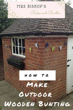 How to make outdoor wooden bunting for your garden by Mrs Bishop's Bakes and Banter Blog. This pretty garden bunting is quick cheap and very easy to make - it can stay hung in the garden all year round and my string is now 3 years old and still going strong! The perfect way to decorate your garden for summer bbq's and parties.