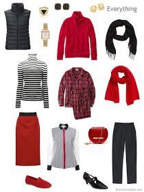 tiny travel capsule wardrobe in black, white and red - Travel Outfits Fall Wardrobe, Capsule Wardrobe, Travel Wardrobe, Travel Outfits, Work Casual, Casual Chic, Travel Capsule, Minimalist Wardrobe, Business Dresses