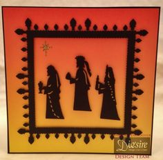 Three wisemen die Nativity die CC black card Coloured background sheet (my own) Fence and Gate die for border CC Kraft card Gold card (my own) 8x8 Card blank (my own)
