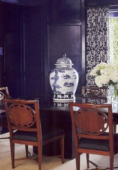 Island Ikat draper from Quadrille, China Seas, Alan Campbell, Home Couture.  Indigo mood!