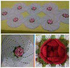Caminho de mesa em crochê/ trilho de mesa em crochê/ centro de mesa de c...