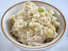Výborný šalát plný vitamínov, v zime vhodný k pečeným mäsám, v lete ku grilovaným klobáskam. Coconut Flakes, Potato Salad, Spices, Potatoes, Ethnic Recipes, Food, Spice, Potato, Essen