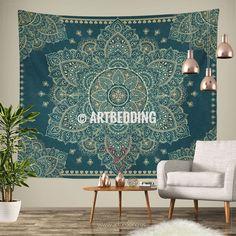 Bohemian TAPESTRY, Teal & Gold vintage mandala Wall hanging, Boho Mandala Wall Decor, Mandala Indie Tapestry, artbedding wall art Tapestry