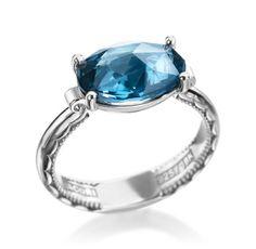 18K & Sterling Oval Blue Topaz Ring