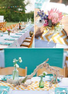 yellow chevron table runners with contrasting napkins. Aqua Wedding, Boho Wedding, Wedding Colors, Rustic Wedding, Brunch Wedding, Wedding Table, Chevron Table Runners, Tea Party Table, Bohemian Party