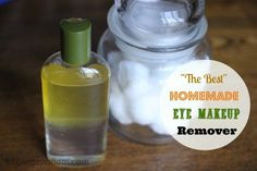 This Homemade Eye Makeup Remover tested BEST in my challenge of several DIY versions. Easy, non-toxic, super cheap and removes water-proof mascara too!