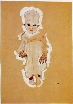 Baby 1910-Egon Schiele..One of my fav artists.Egon Schiele More Pins Like This At FOSTERGINGER @ Pinterest