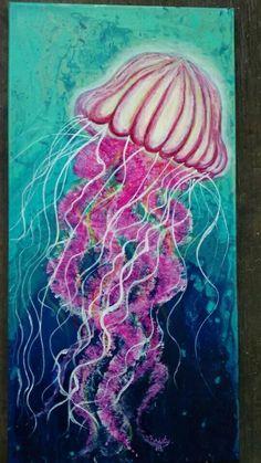 Magenta and turquoise jellyfish acrylic painting poured background Pet Jellyfish, Jellyfish Drawing, Jellyfish Painting, Blue Jellyfish, Fish Drawings, Art Drawings, Medusa, Hot Glue Art, Sharpie Art