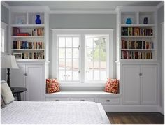 Just love the window seat and bookcases. Built-ins are one of my favorite things in a house. This window seat needs a cushion. Decor, House, Traditional Bedroom, Home, Home Bedroom, Character Home, House Interior, Built In Seating, Window Seat