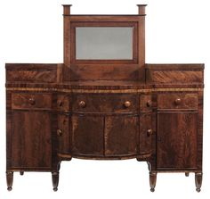 John Burgner Inlaid Mahogany Sideboard Morganton, North Carolina, Circa  1817, Opulent Bookmatched Figured