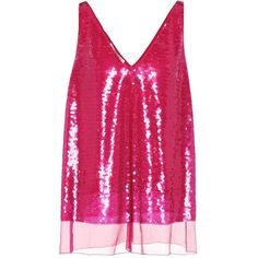 Stella McCartney Sutton Sequinned Silk Tank Top (1,960 NZD) ❤ liked on Polyvore featuring tops, pink, pink sleeveless top, silk sleeveless top, sequin tank top, pink sequin tank top and pink sequin tank