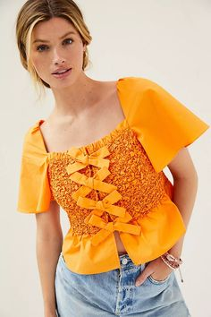 Smocked Bow-Tie Tank | Anthropologie Winter Tops, Summer Tops, 50 Fashion, Petite Size, Style Guides, Smocking, Anthropologie, Bows, Pullover