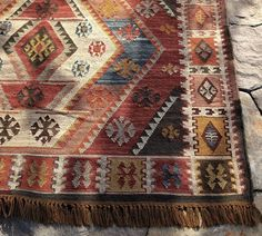 Pottery Barn Gianna Kilm indoor outdoor rug 5x8 299.00  This would look great with my brown leather sofa in my American Indian theme office.