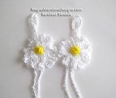 Crochet Cotton Barefoot Sandals with Daisy Flowers Handmade Crocheted One Size Fits Tweens, Teens and Women $12.99