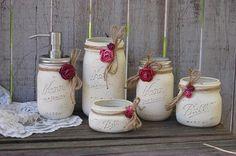 Ivory mason jar bathroom set
